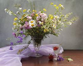 Image Still-life Bouquet Camomiles Centaurea Vase Shot glass Flowers