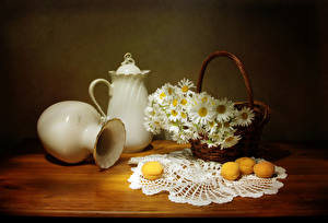 Pictures Still-life Camomiles Apricot Vase Jugs Wicker basket Table Flowers Food