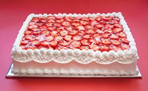 Bilder Süßware Torte Erdbeeren Design Roter Hintergrund Lebensmittel