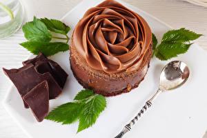 Bilder Süßware Schokolade Törtchen Design Löffel Blatt