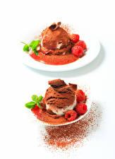 Hintergrundbilder Süßware Speiseeis Schokolade Weißer hintergrund Kugeln Kakaopulver