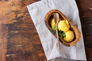 Fotos Süßigkeiten Speiseeis Gelb Kugeln Lebensmittel