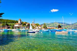 Fotos Schweiz See Gebäude Schiffe Segeln Spiez Städte