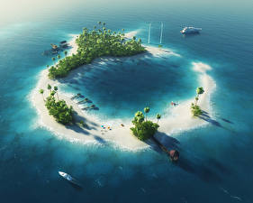 Picture Tropics Sea Speedboat Island Palm trees 3D Graphics Nature