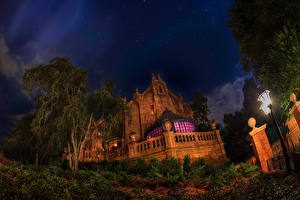 Pictures USA Disneyland Parks Building California Anaheim Design Night time Street lights Cities