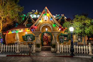 Picture USA Disneyland Park Houses California Anaheim HDR Design Night Street lights Fence Cities