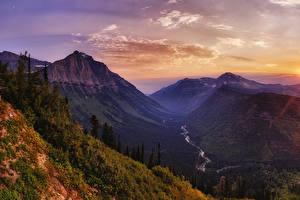 Hintergrundbilder Vereinigte Staaten Park Sonnenaufgänge und Sonnenuntergänge Gebirge Wälder Flusse Landschaftsfotografie Glacier National Park Natur