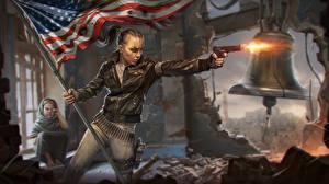 Fotos Vereinigte Staaten Pistolen Homefront Flagge Schuss The Revolution Mädchens