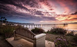 Image USA Sunrises and sunsets Pier California Bay Bench La Jolla Nature
