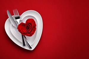 Wallpaper Valentine's Day Knife Red background Fork Heart