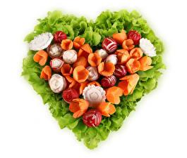 Bilder Gemüse Mohrrübe Radieschen Weißer hintergrund Design Herz