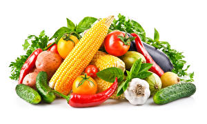 Images Vegetables Corn Garlic Bell pepper Cucumbers Tomatoes White background Food