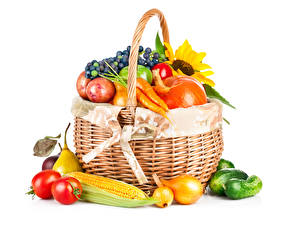 Pictures Vegetables Corn Onion Tomatoes Cucumbers White background Wicker basket Food