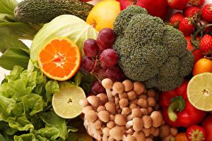 Hintergrundbilder Gemüse Obst Pilze Trauben das Essen