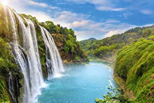 Fotos Wasserfall Landschaftsfotografie Flusse Felsen Natur