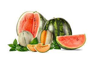 Fotos Wassermelonen Melone Weißer hintergrund Stücke