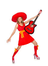Picture White background Blonde girl Happy Guitar Frock Hat Girls