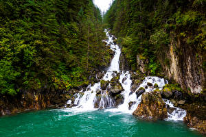Wallpapers Alaska Forests Waterfalls Rock Nature