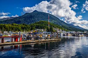 Hintergrundbilder Alaska Gebäude Bootssteg Hügel Ketchikan Städte