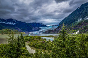 Picture Alaska Mountains Rivers Spruce Nature