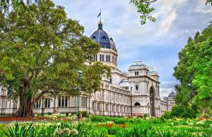 Fondos de escritorio Australia Melbourne Casa Museos árboles Royal Exhibition Building