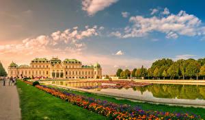 Bureaubladachtergronden Oostenrijk Wenen Vijver Paleis Gazon Schloss Belvedere Steden