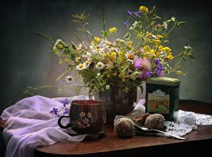 Fotos Kamillen Tee Süßware Tasse Lebensmittel Blumen