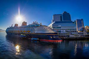 Bilder Kanada Gebäude Schiffsanleger Kreuzfahrtschiff Vancouver