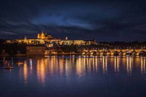 Photo Czech Republic Prague Houses River Bridge Charles Bridge Night Cities