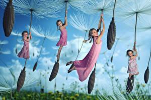 Fotos Taraxacum Lustiger Kleine Mädchen Flug kind
