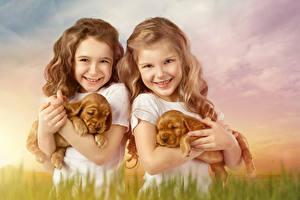 Picture Dogs 2 Little girls Smile Puppy Glance Children Animals