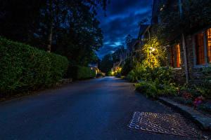 Bilder England Haus Wege Stadtstraße Nacht Castle Combe Städte