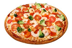 Fotos Fast food Pizza Tomaten Caridea Nahaufnahme Weißer hintergrund das Essen