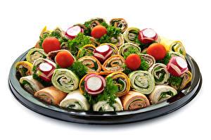Bilder Fast food Gemüse Tomate Radieschen Weißer hintergrund Tortilla