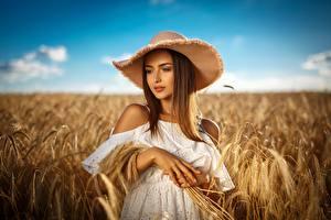Hintergrundbilder Acker Weizen Der Hut Hübscher Mädchens