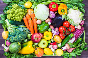 Hintergrundbilder Obst Gemüse Paprika Mohrrübe Äpfel Tomate Knoblauch Kohl Aubergine Lebensmittel