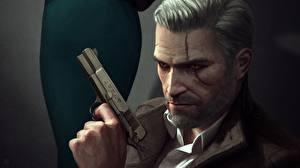 Bilder Geralt von Rivia The Witcher 3: Wild Hunt Pistolen Mann Fan ART Spiele
