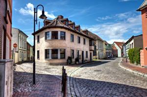 Bilder Deutschland Haus Straße Straße Straßenlaterne Barth Städte