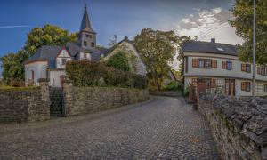 Fotos Deutschland Haus Tempel Straße Stadtstraße Zaun Miehlen Städte