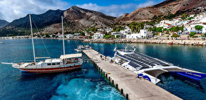 Hintergrundbilder Griechenland Haus Seebrücke Segeln Schiff Berg Tilos Städte