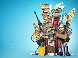Bilder Handtasche Radio Koffer Der Hut Tourismus 3D-Grafik
