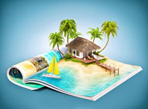 Picture Houses Tropics Resorts Magazine Palm trees 3D Graphics