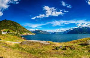 Bilder Island Landschaftsfotografie Gebäude Flusse Himmel Hügel Natur
