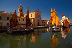 Bilder Italien Haus Flusse Schiffe Segeln Cesenatico Emilia Romagna Städte