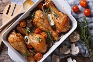 Bilder Fleischwaren Hühnerbraten Pilze das Essen