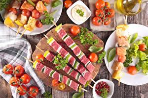 Papel de Parede Desktop Produtos de carne Chachlik Hortaliça Tomates Alimentos