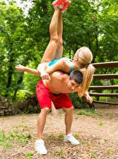 Pictures Man Gymnastics 2 Blonde girl Workout Sport Girls