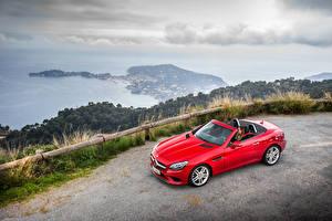 Hintergrundbilder Mercedes-Benz Rot Cabrio 2016 SLC 250 d Autos