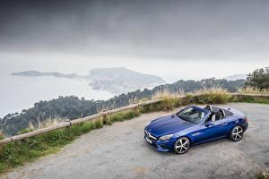 デスクトップの壁紙、、メルセデス・ベンツ、青、オープンカー、メタリック塗、2016 SLC 300、自動車