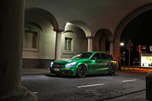 Hintergrundbilder Mercedes-Benz Tuning Gelb grüne 2017-18 Wimmer RS AMG C 63 S Estate RST Autos